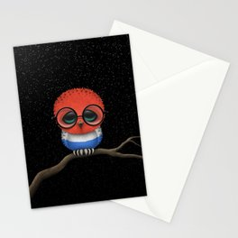 Baby Owl with Glasses and Dutch Flag Stationery Cards