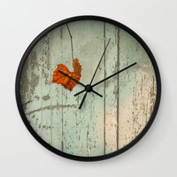 thanksgiving Wall Clocks featuring Thanksgiving by V. Sanderson / Chickens in the Trees