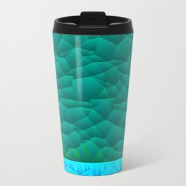 Quilted Sky Blue and Green Two Toned Pattern Travel Mug