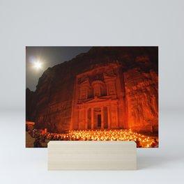 Candlelit Petra Ruins by Moonlight by Sylvain L. Mini Art Print