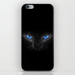 Black Cat in Blue Eyes iPhone Skin
