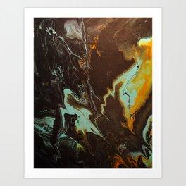 Fluid Art Acrylic Painting, Pour 3 - Black, Orange & Turquoise Blended Color Art Print