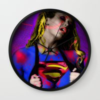 supergirl Wall Clocks featuring Supergirl by EarlyHuman