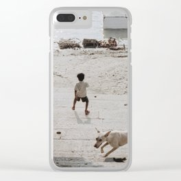 A boy and a dog Clear iPhone Case
