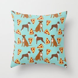 Boxer dog pattern pizza dog lover pet portraits boxers dog breed by pet friendly Throw Pillow