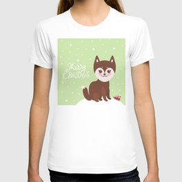 Merry Christmas New Year's card design funny brown husky dog, Kawaii face T-shirt