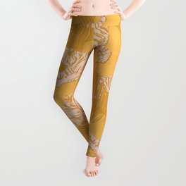 Sunny Tigers and Palms / Yellow, mustard, golden Leggings