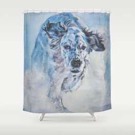 English Setter in Snow dog art from an original painting by L.A.Shepard Shower Curtain