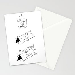 Pay for soup, build a fort, set that on fire Stationery Cards
