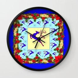 LEAPING DEER POINSETTIAS & SNOWFLAKES BLUE ART CHRISTMAS de Wall Clock