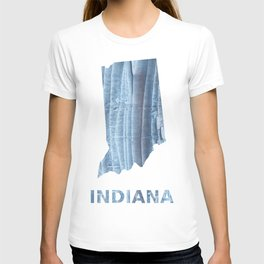 Indiana map outline Light steel blue nebulous watercolor T-shirt