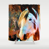 pony Shower Curtains featuring Painted Pony by North 10 Creations