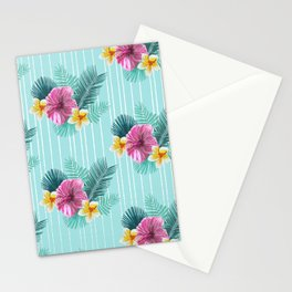 Cool blue base pink floral texture Stationery Cards