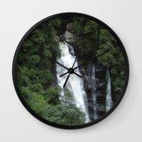 waterfall Wall Clocks featuring WATERFALL by Caio Trindade