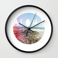 aloha Wall Clocks featuring Aloha by Sunkissed Laughter