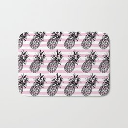 Pink Striped Pineapple Pattern Bath Mat