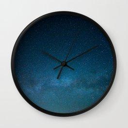 Navy Blue Star Galaxy Wall Clock