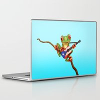 puerto rico Laptop & iPad Skins featuring Tree Frog Playing Acoustic Guitar with Flag of Puerto Rico by Jeff Bartels
