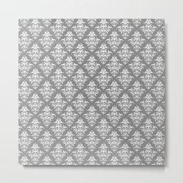 Damask Pattern   Grey and White Metal Print