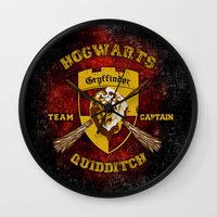 quidditch Wall Clocks featuring Gryffindor lion quidditch team captain iPhone 4 4s 5 5c, ipod, ipad, pillow case, tshirt and mugs by Three Second