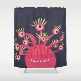 Funny Pink Monster With Eleven Eyes Is Happy Shower Curtain