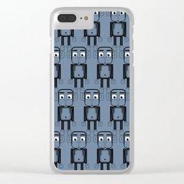 Super cute animals - Cheeky Blue Monkey Clear iPhone Case