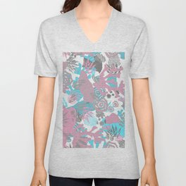 Artistic nautical teal pink gray coral floral pattern Unisex V-Neck