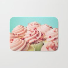 STRAWBERRY CUPCAKES PHOTOGRAPH Bath Mat