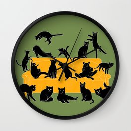 Black cats on yellow sofa | Green Wall Clock