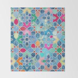 Pretty Pastel Moroccan Tile Mosaic Pattern Throw Blanket