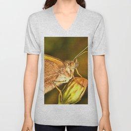 Meadow Brown Beautiful Butterfly Portrait Unisex V-Neck