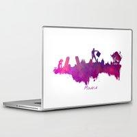 madrid Laptop & iPad Skins featuring Madrid skyline by jbjart