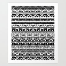 Ethnic stripes in black and white Art Print