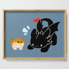 toothless and baby gronckle Serving Tray