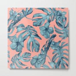 Island Life Teal on Coral Pink Metal Print