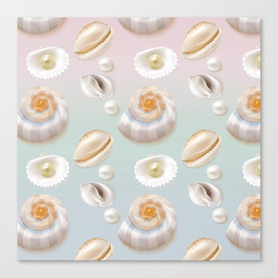 Seashell Seashells Pearls on pastel multicolor backdrop on #Society6 Canvas Print