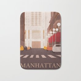 New York Manhattan watercolor Bath Mat