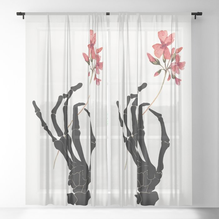 Skeleton Hand with Flower Sheer Curtain