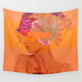 Woman in flowers III Wall Tapestry