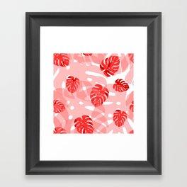 red monstera Framed Art Print