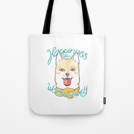 Shiba Inu Dog in a Scarf with Quote 'Happiness is a Warm Puppy' Tote Bag