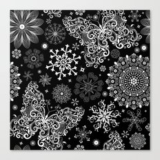 Butterfly & Floral Black and White Pattern Canvas Print