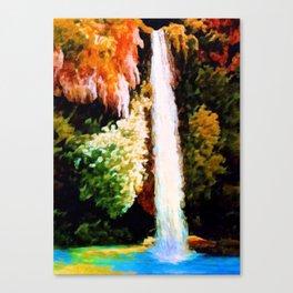 Autumn Forest Waterfall Landscape Art Canvas Print
