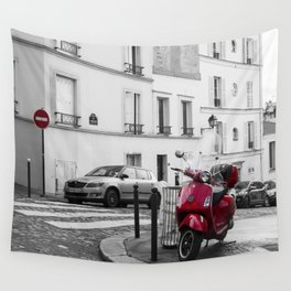 Red Vespa in Paris Wall Tapestry