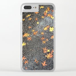 Scattered Leaves on Pavement no.1 Clear iPhone Case