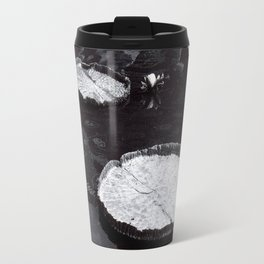 Black and White Large Lily Pads in Water Art Print Travel Mug