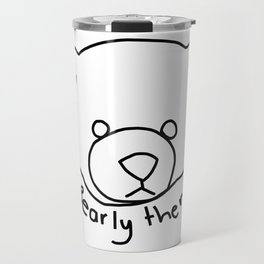 Minimal Bear Portrait with Pun Bearly There Travel Mug