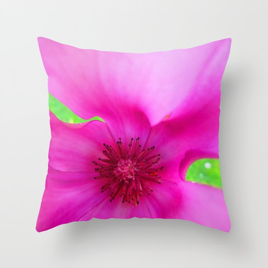 Shocking Pink Flower Throw Pillow