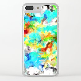 psychedelic splash painting abstract texture in blue yellow brown green black Clear iPhone Case