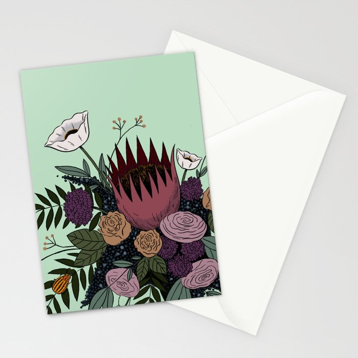 Beetles and Flowers Stationery Cards